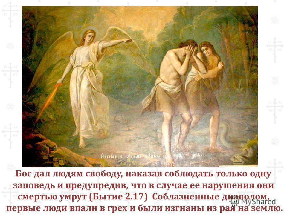 Бог дал людям свободу, наказав соблюдать только одну заповедь и предупредив, что в случае ее нарушения они смертью умрут (Бытие 2.17) Соблазненные диаволом, первые люди впали в грех и были изгнаны из рая на землю.