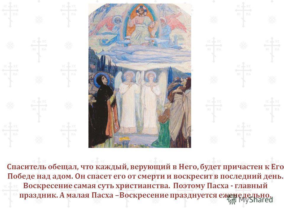 Спаситель обещал, что каждый, верующий в Него, будет причастен к Его Победе над адом. Он спасет его от смерти и воскресит в последний день. Воскресение самая суть христианства. Поэтому Пасха - главный праздник. А малая Пасха –Воскресение празднуется