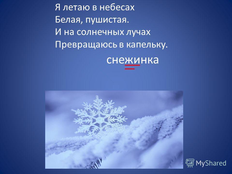 Я летаю в небесах Белая, пушистая. И на солнечных лучах Превращаюсь в капельку. снежинка