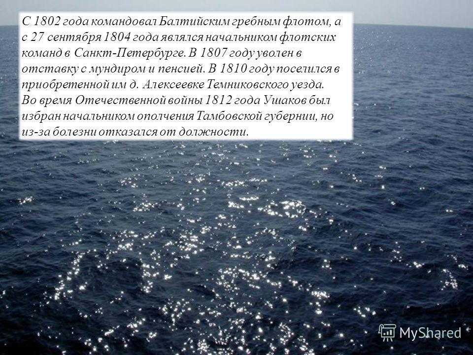 С 1802 года командовал Балтийским гребным флотом, а с 27 сентября 1804 года являлся начальником флотских команд в Санкт-Петербурге. В 1807 году уволен в отставку с мундиром и пенсией. В 1810 году поселился в приобретенной им д. Алексеевке Темниковско