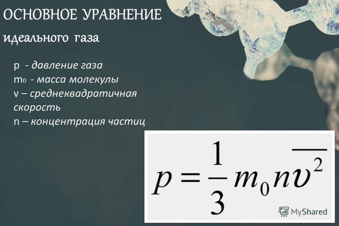 ОСНОВНОЕ УРАВНЕНИЕ идеального газа р - давление газа m 0 - масса молекулы v – среднеквадратичная скорость n – концентрация частиц