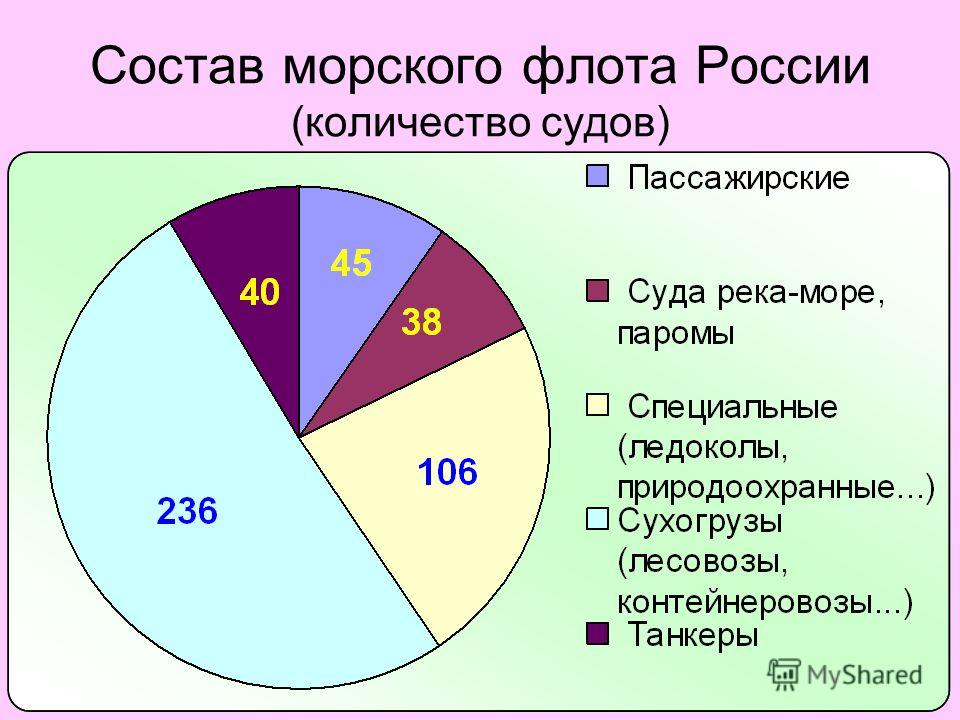 Состав морского флота России (количество судов)