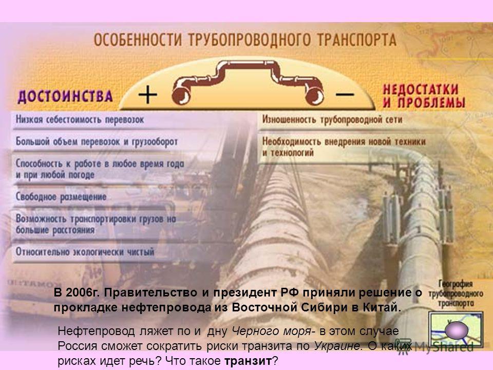 В 2006г. Правительство и президент РФ приняли решение о прокладке нефтепровода из Восточной Сибири в Китай. Нефтепровод ляжет по и дну Черного моря- в этом случае Россия сможет сократить риски транзита по Украине. О каких рисках идет речь? Что такое