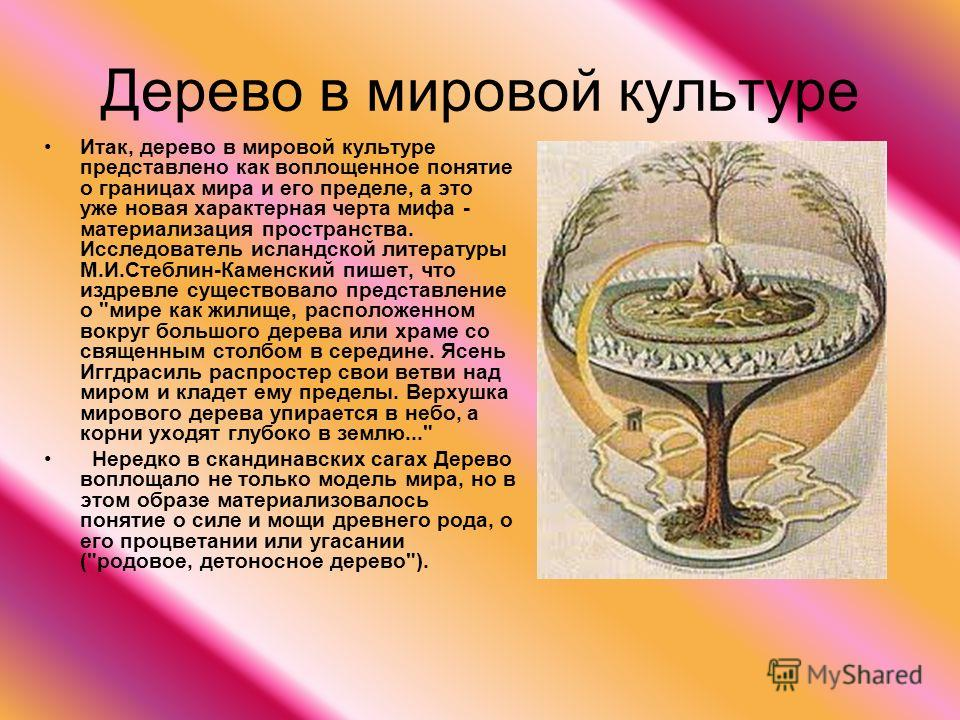 Дерево в мировой культуре Итак, дерево в мировой культуре представлено как воплощенное понятие о границах мира и его пределе, а это уже новая характерная черта мифа - материализация пространства. Исследователь исландской литературы М.И.Стеблин-Каменс