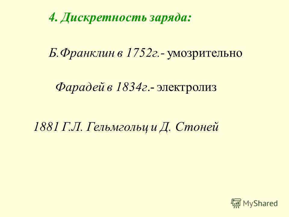 4. Дискретность заряда: Б.Франклин в 1752г.- умозрительно Фарадей в 1834г.- электролиз 1881 Г.Л. Гельмгольц и Д. Стоней