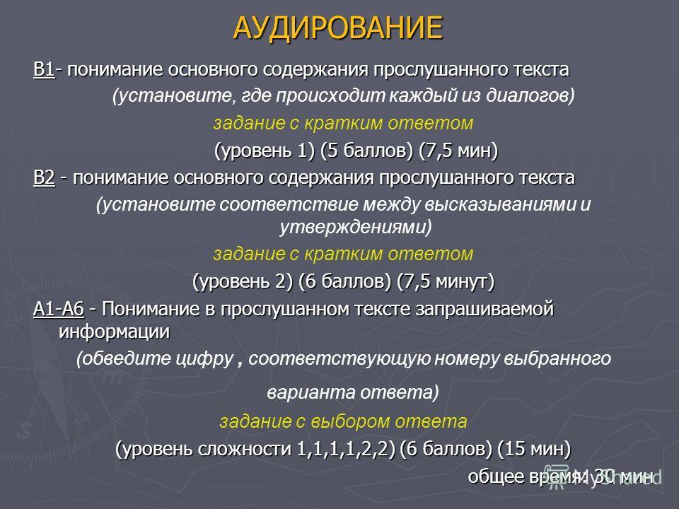 АУДИРОВАНИЕ В1- понимание основного содержания прослушанного текста (установите, где происходит каждый из диалогов) задание с кратким ответом (уровень 1) (5 баллов) (7,5 мин) В2 - понимание основного содержания прослушанного текста (установите соотве