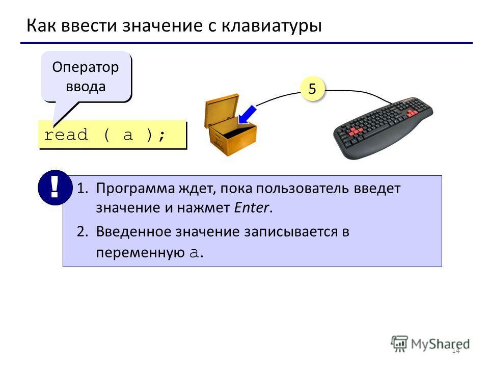 14 Как ввести значение с клавиатуры read ( a ); 1.Программа ждет, пока пользователь введет значение и нажмет Enter. 2.Введенное значение записывается в переменную a. ! Оператор ввода 5 5