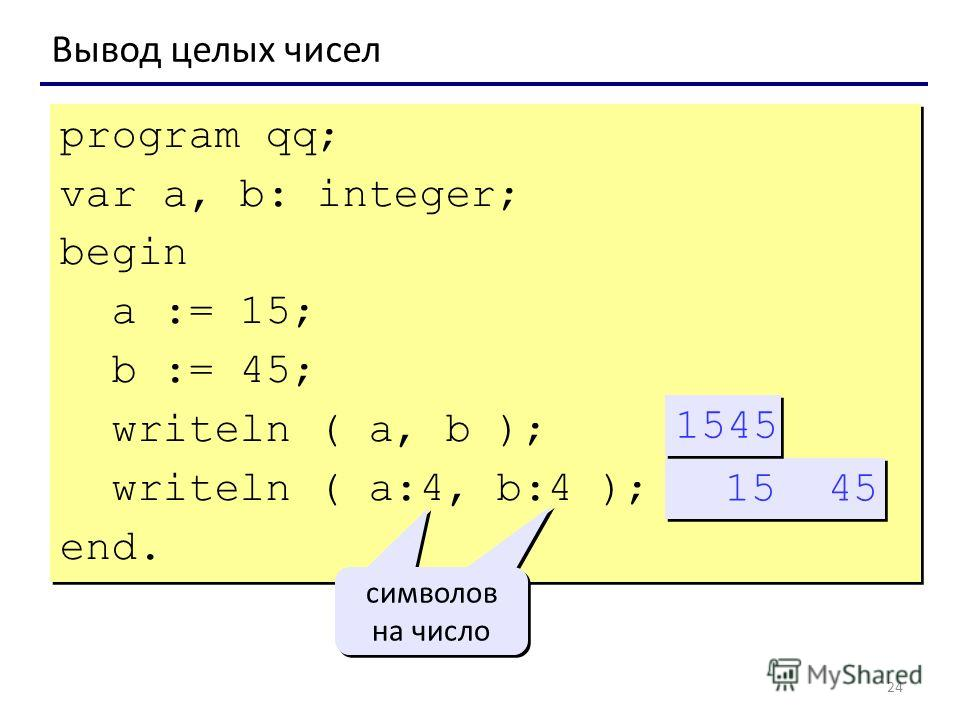 24 Вывод целых чисел program qq; var a, b: integer; begin a := 15; b := 45; writeln ( a, b ); writeln ( a:4, b:4 ); end. program qq; var a, b: integer; begin a := 15; b := 45; writeln ( a, b ); writeln ( a:4, b:4 ); end. 15 45 символов на число симво