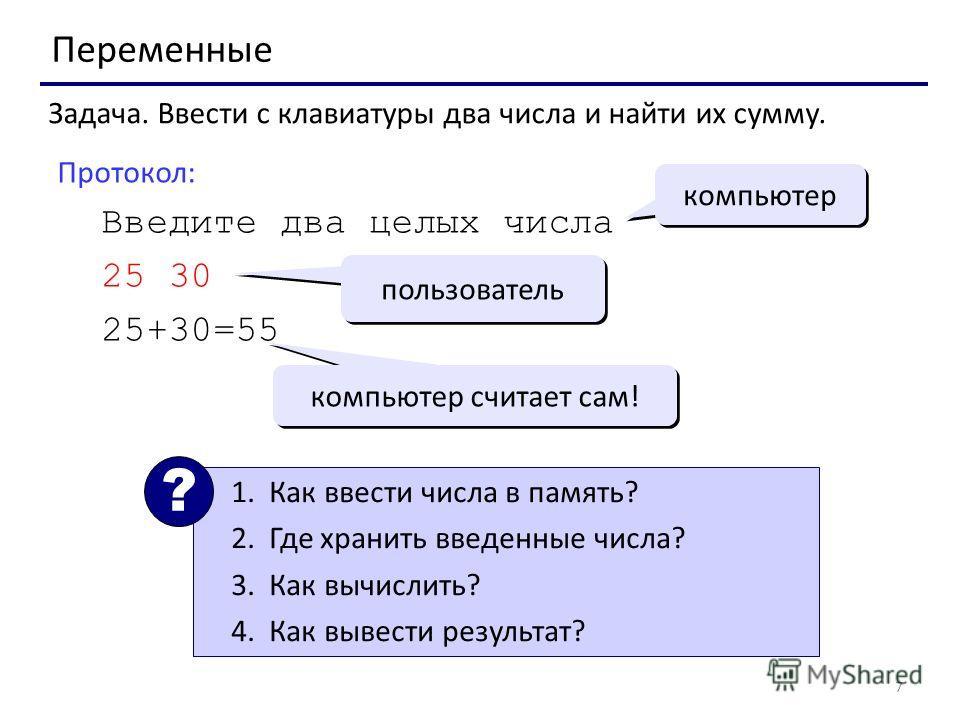 7 Переменные Задача. Ввести с клавиатуры два числа и найти их сумму. Протокол: Введите два целых числа 25 30 25+30=55 компьютер пользователь компьютер считает сам! 1.Как ввести числа в память? 2.Где хранить введенные числа? 3.Как вычислить? 4.Как выв
