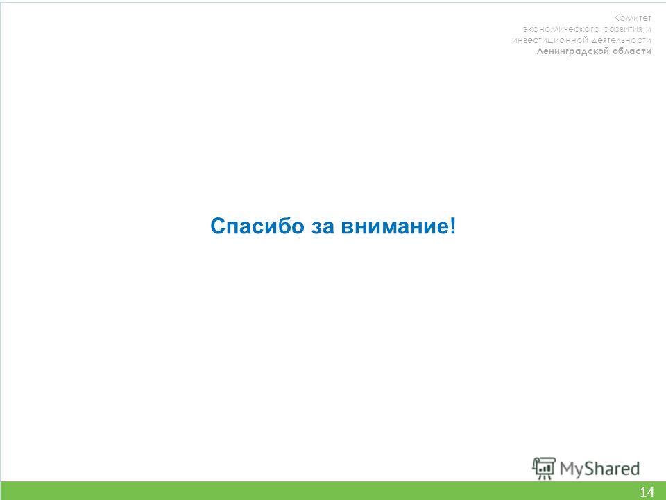 Комитет экономического развития и инвестиционной деятельности Ленинградской области 14 Спасибо за внимание!