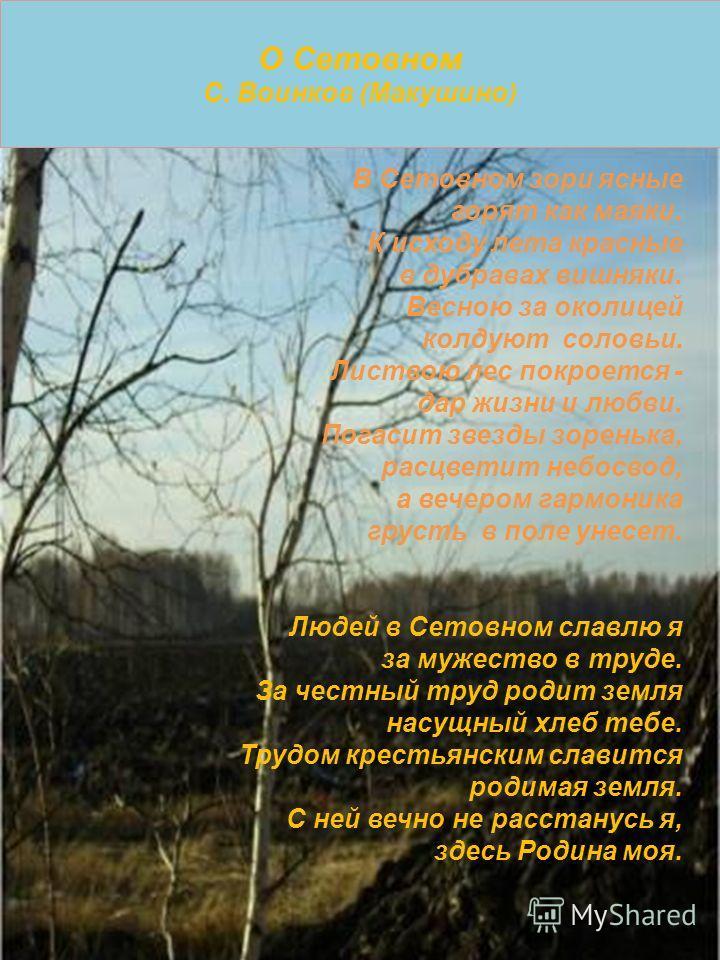 О Сетовном С. Воинков (Макушино) В Сетовном зори ясные горят как маяки. К исходу лета красные в дубравах вишняки. Весною за околицей колдуют соловьи. Листвою лес покроется - дар жизни и любви. Погасит звезды зоренька, расцветит небосвод, а вечером га