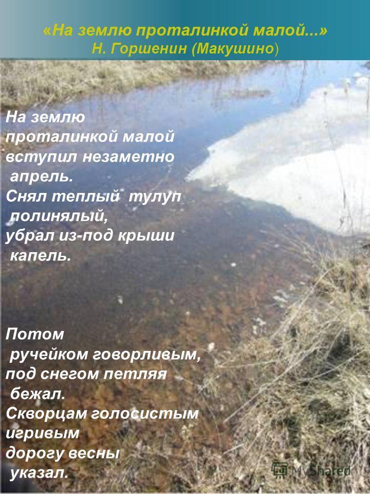 «На землю проталинкой малой...» Н. Горшенин (Макушино)