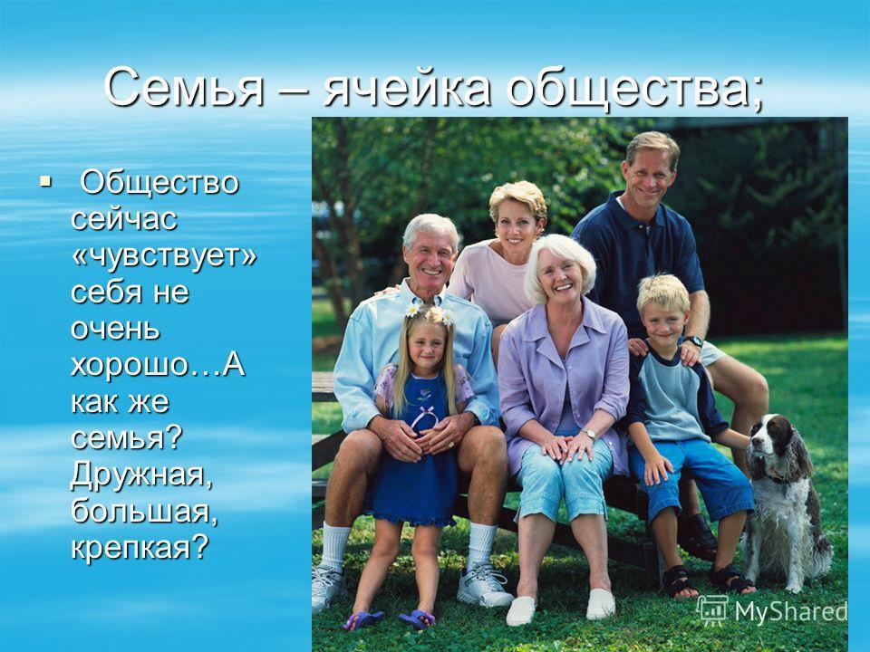 Семья – ячейка общества; Общество сейчас «чувствует» себя не очень хорошо…А как же семья? Дружная, большая, крепкая? Общество сейчас «чувствует» себя не очень хорошо…А как же семья? Дружная, большая, крепкая?