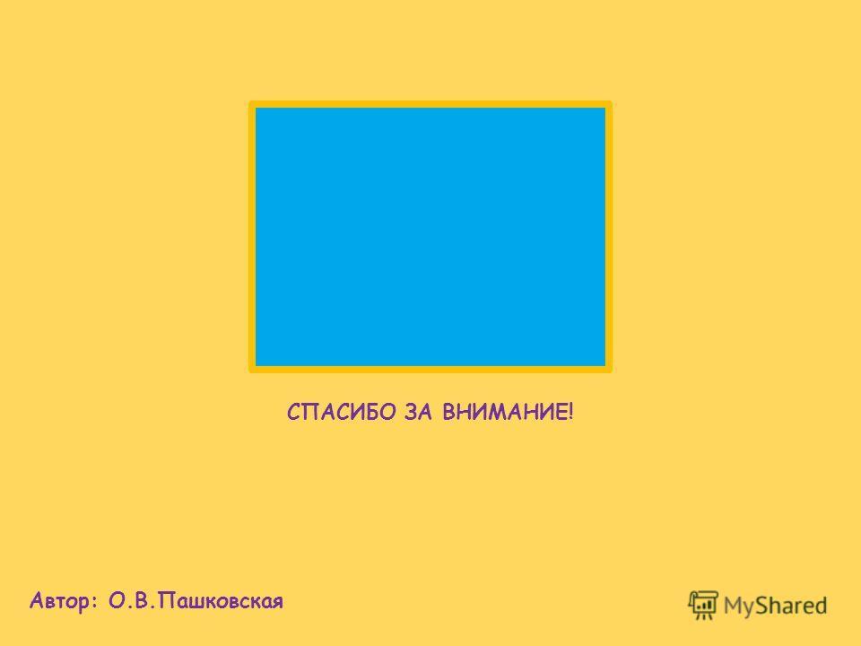 СПАСИБО ЗА ВНИМАНИЕ! Автор: О.В.Пашковская