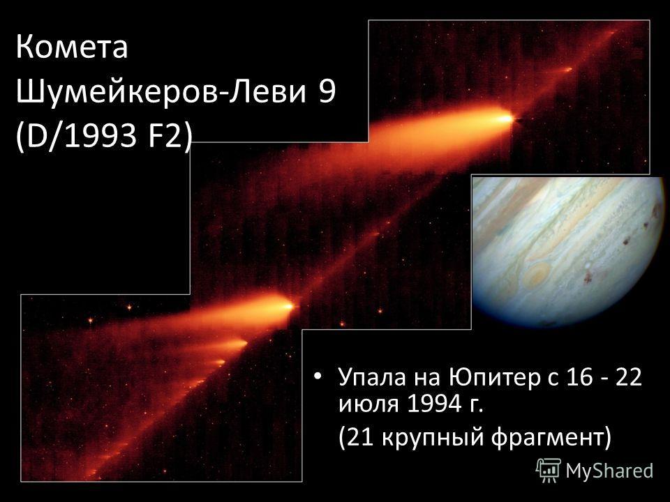 Комета Шумейкеров-Леви 9 (D/1993 F2) Упала на Юпитер с 16 - 22 июля 1994 г. (21 крупный фрагмент)
