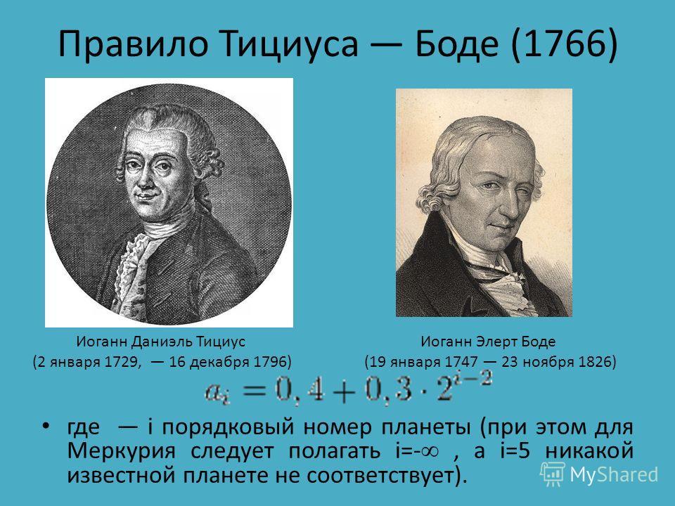 Правило Тициуса Боде (1766) где i порядковый номер планеты (при этом для Меркурия следует полагать i=-, а i=5 никакой известной планетe не соответствует). Иоганн Даниэль Тициус (2 января 1729, 16 декабря 1796) Иоганн Элерт Боде (19 января 1747 23 ноя