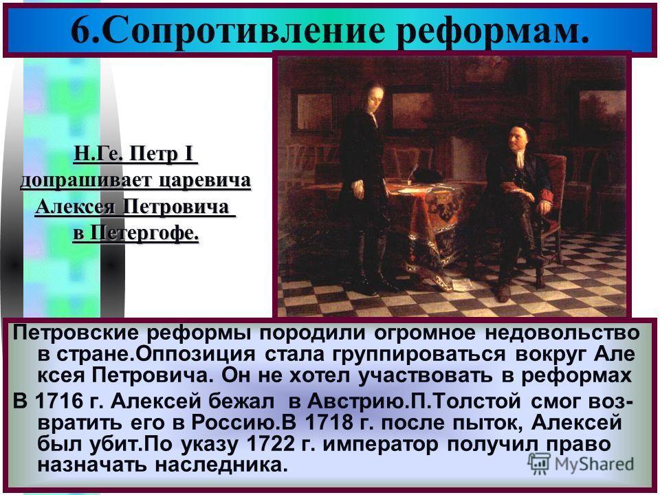 Меню 6.Сопротивление реформам. Петровские реформы породили огромное недовольство в стране.Оппозиция стала группироваться вокруг Але ксея Петровича. Он не хотел участвовать в реформах В 1716 г. Алексей бежал в Австрию.П.Толстой смог воз- вратить его в