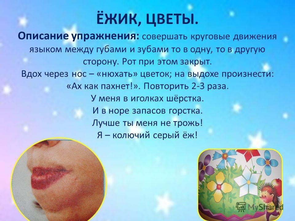 ЁЖИК, ЦВЕТЫ. Описание упражнения: совершать круговые движения языком между губами и зубами то в одну, то в другую сторону. Рот при этом закрыт. Вдох через нос – «нюхать» цветок; на выдохе произнести: «Ах как пахнет!». Повторить 2-3 раза. У меня в иго
