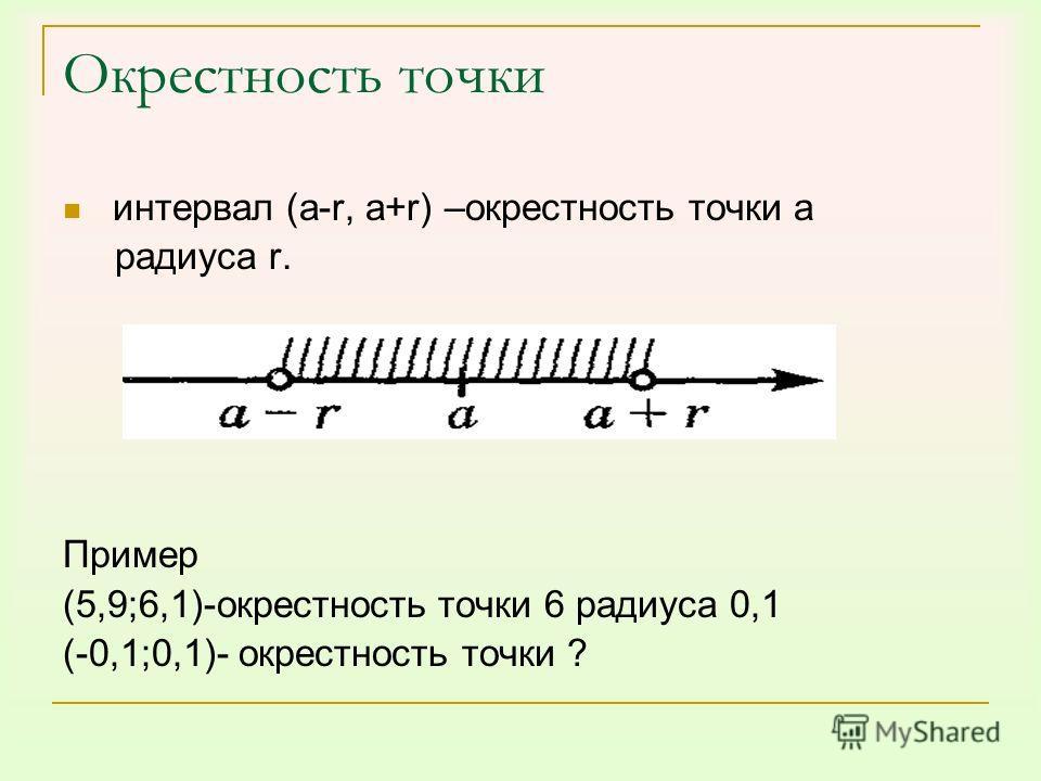 Окрестность точки интервал (a-r, a+r) –окрестность точки a радиуса r. Пример (5,9;6,1)-окрестность точки 6 радиуса 0,1 (-0,1;0,1)- окрестность точки ?