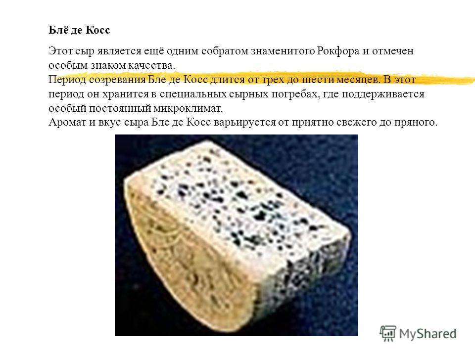 Блё де Косс Этот сыр является ещё одним собратом знаменитого Рокфора и отмечен особым знаком качества. Период созревания Бле де Косс длится от трех до шести месяцев. В этот период он хранится в специальных сырных погребах, где поддерживается особый п
