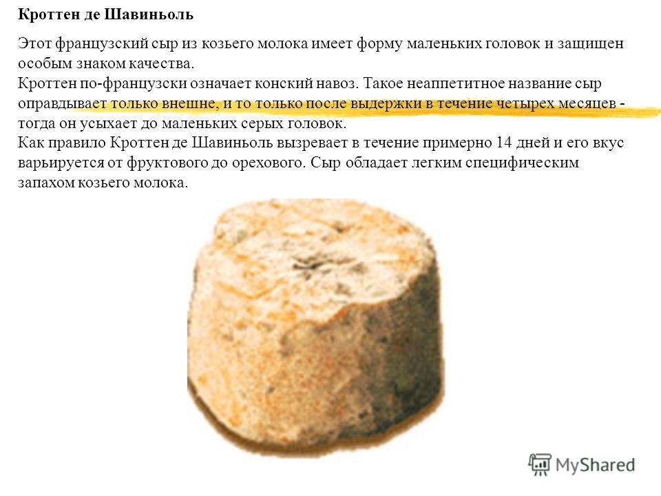 Кроттен де Шавиньоль Этот французский сыр из козьего молока имеет форму маленьких головок и защищен особым знаком качества. Кроттен по-французски означает конский навоз. Такое неаппетитное название сыр оправдывает только внешне, и то только после выд