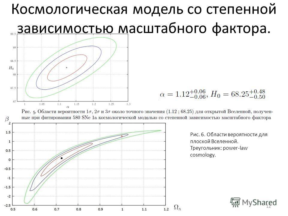 12 5 Рис. 6. Области вероятности для плоской Вселенной. Треугольник: power-law cosmology. Космологическая модель со степенной зависимостью масштабного фактора.