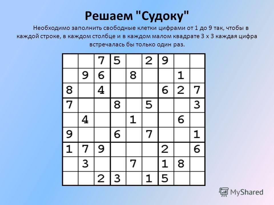 Решаем Судоку Необходимо заполнить свободные клетки цифрами от 1 до 9 так, чтобы в каждой строке, в каждом столбце и в каждом малом квадрате 3 x 3 каждая цифра встречалась бы только один раз.