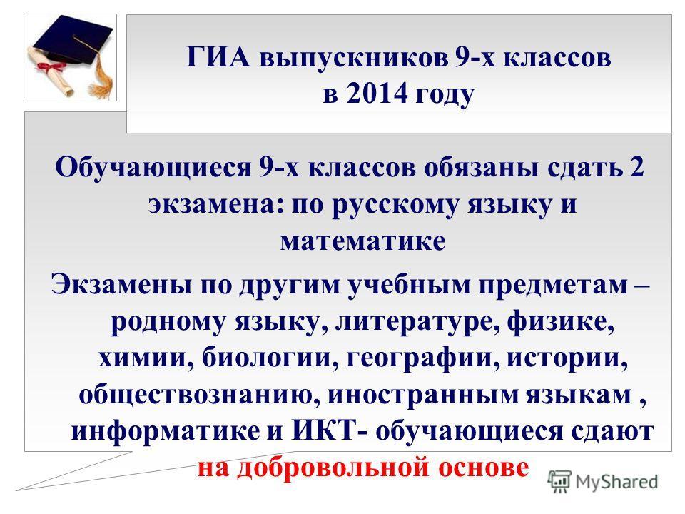 ГИА выпускников 9-х классов в 2014 году Обучающиеся 9-х классов обязаны сдать 2 экзамена: по русскому языку и математике Экзамены по другим учебным предметам – родному языку, литературе, физике, химии, биологии, географии, истории, обществознанию, ин