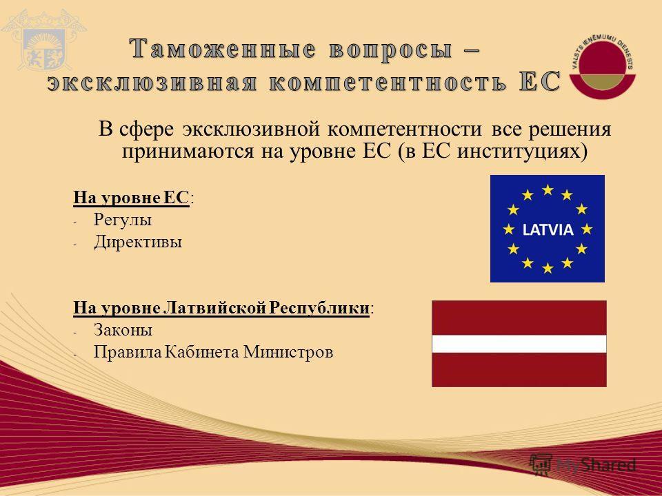 В сфере эксклюзивной компетентности все решения принимаются на уровне ЕС (в ЕС институциях) На уровне ЕС: - Регулы - Директивы На уровне Латвийской Республики: - Законы - Правила Кабинета Министров