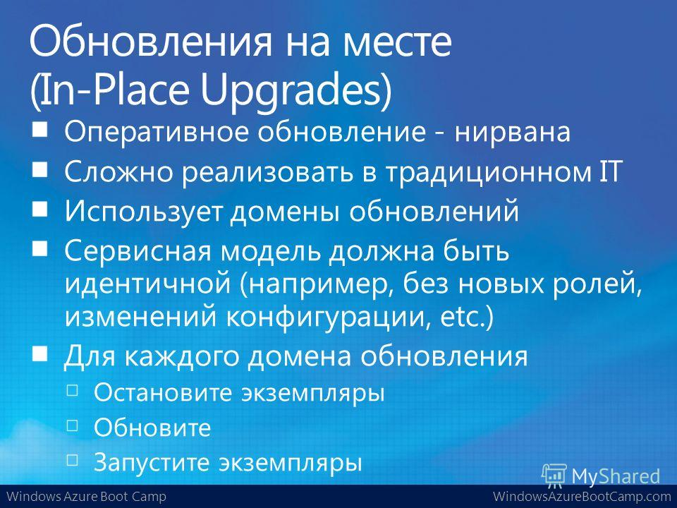 Windows Azure Boot CampWindowsAzureBootCamp.com Обновления на месте (In-Place Upgrades)