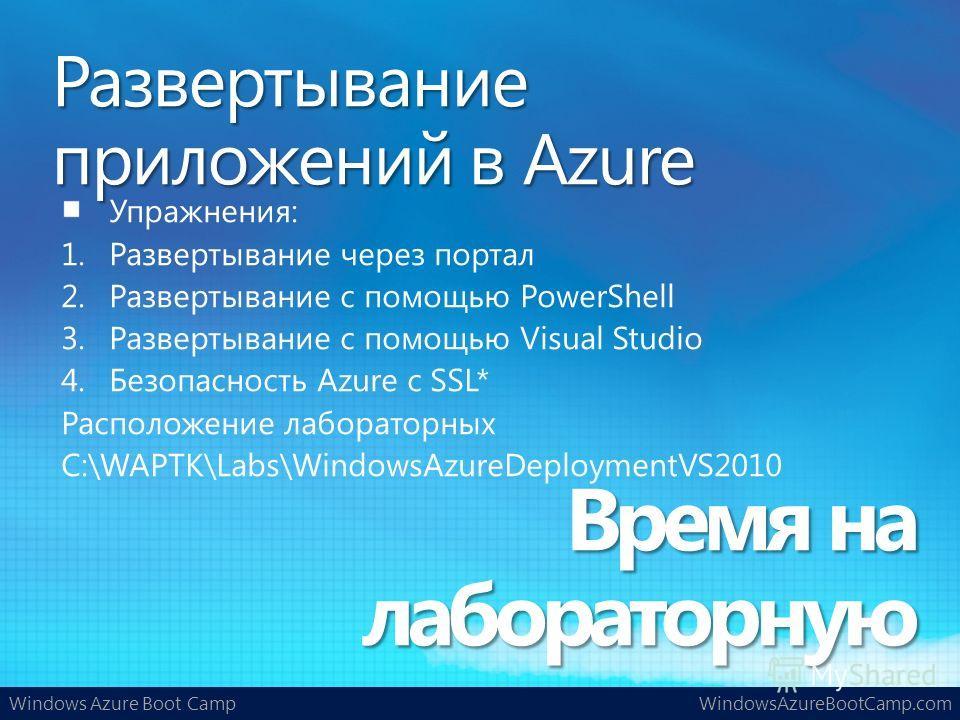 Windows Azure Boot CampWindowsAzureBootCamp.com Упражнения: 1.Развертывание через портал 2.Развертывание с помощью PowerShell 3.Развертывание с помощью Visual Studio 4.Безопасность Azure с SSL* Расположение лабораторных C:\WAPTK\Labs\WindowsAzureDepl