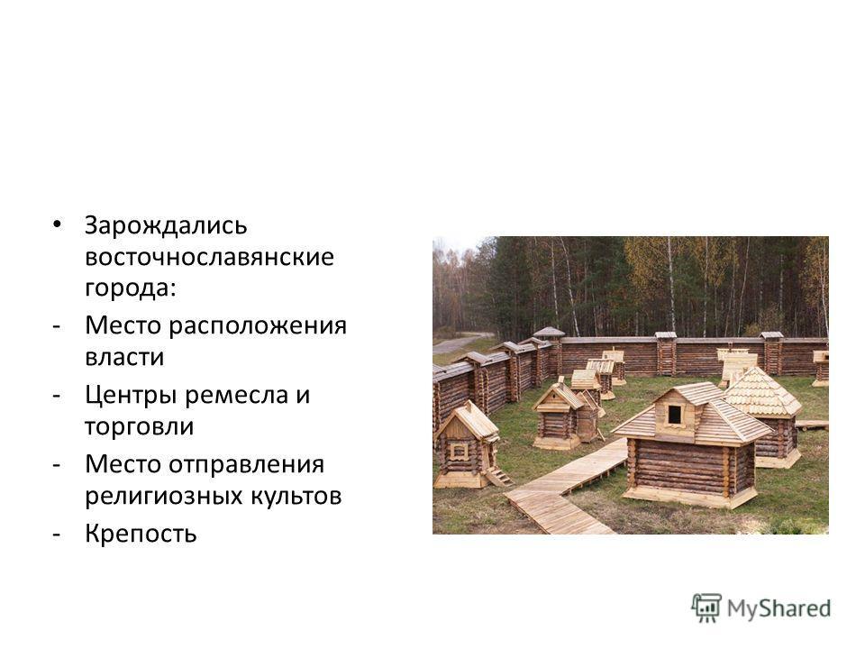 Зарождались восточнославянские города: -Место расположения власти -Центры ремесла и торговли -Место отправления религиозных культов -Крепость