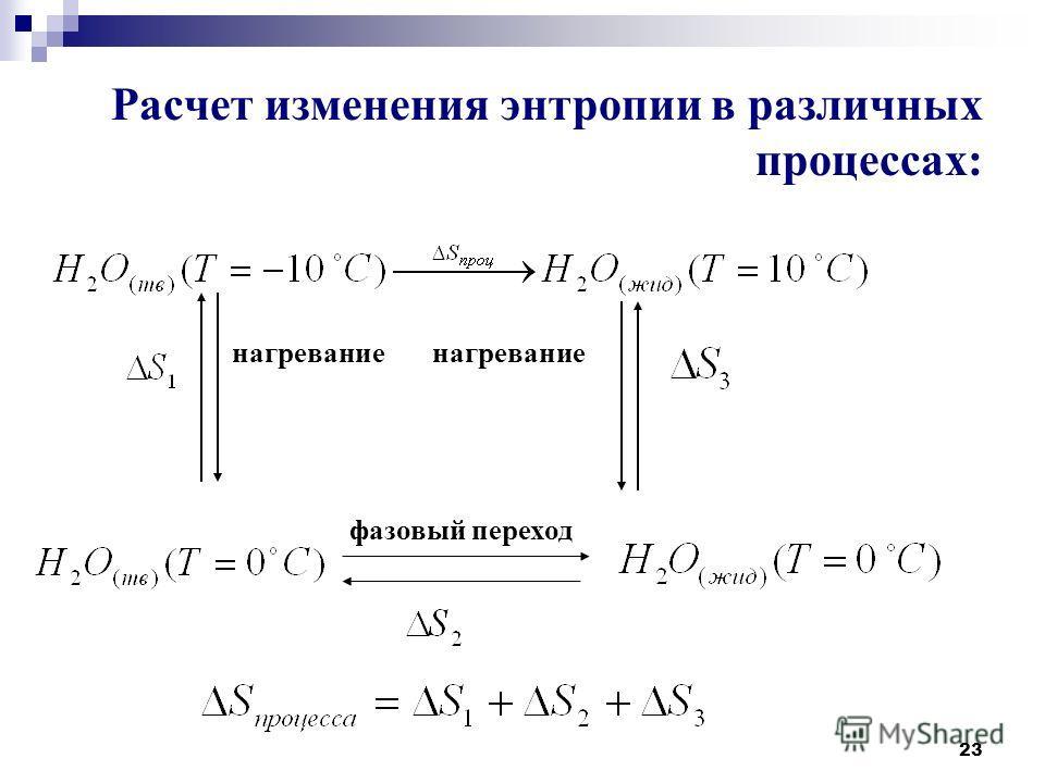 23 Расчет изменения энтропии в различных процессах: нагревание нагревание фазовый переход