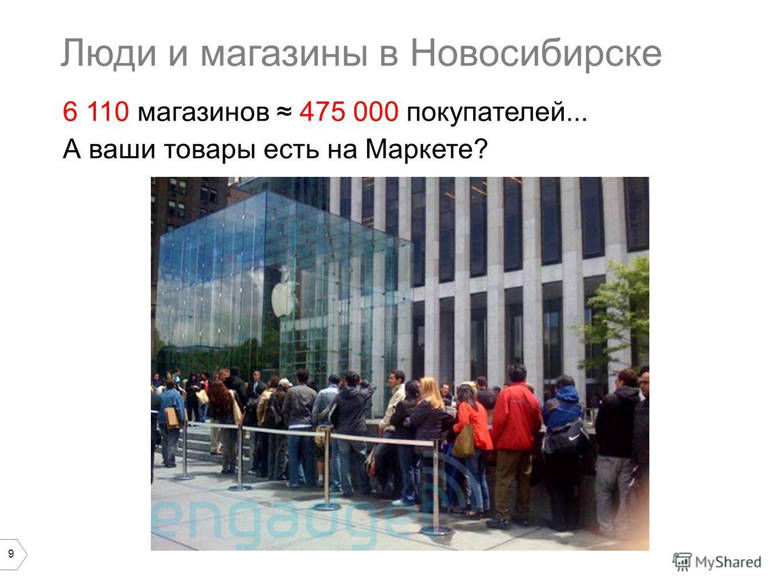 9 6 110 магазинов 475 000 покупателей... А ваши товары есть на Маркете? Люди и магазины в Новосибирске