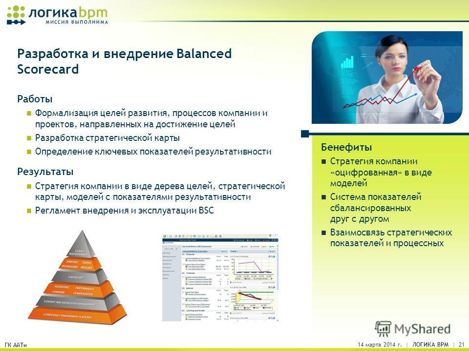 ГК АйТи Разработка и внедрение Balanced Scorecard Работы Формализация целей развития, процессов компании и проектов, направленных на достижение целей Разработка стратегической карты Определение ключевых показателей результативности Результаты Стратег