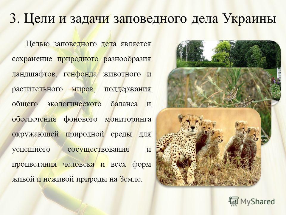 3. Цели и задачи заповедного дела Украины Целью заповедного дела является сохранение природного разнообразия ландшафтов, генфонда животного и растительного миров, поддержания общего экологического баланса и обеспечения фонового мониторинга окружающей