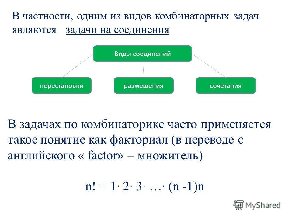 В частности, одним из видов комбинаторных задач являются задачи на соединения Виды соединений размещениясочетанияперестановки В задачах по комбинаторике часто применяется такое понятие как факториал (в переводе с английского « factor» – множитель) n!
