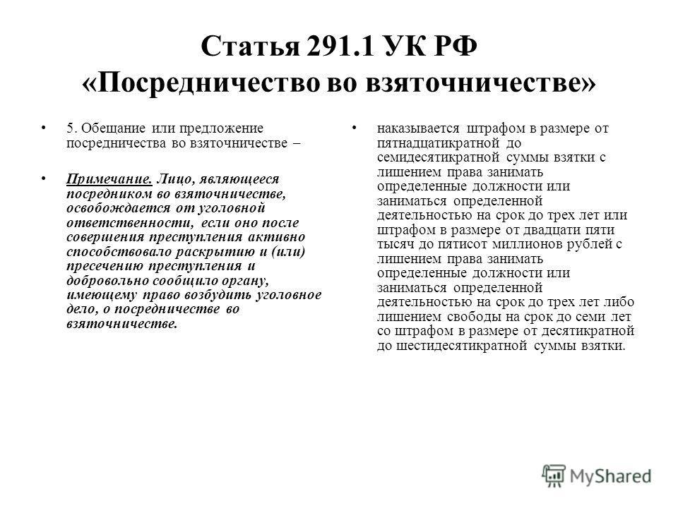 Статья 291.1 УК РФ «Посредничество во взяточничестве» 5. Обещание или предложение посредничества во взяточничестве – Примечание. Лицо, являющееся посредником во взяточничестве, освобождается от уголовной ответственности, если оно после совершения пре