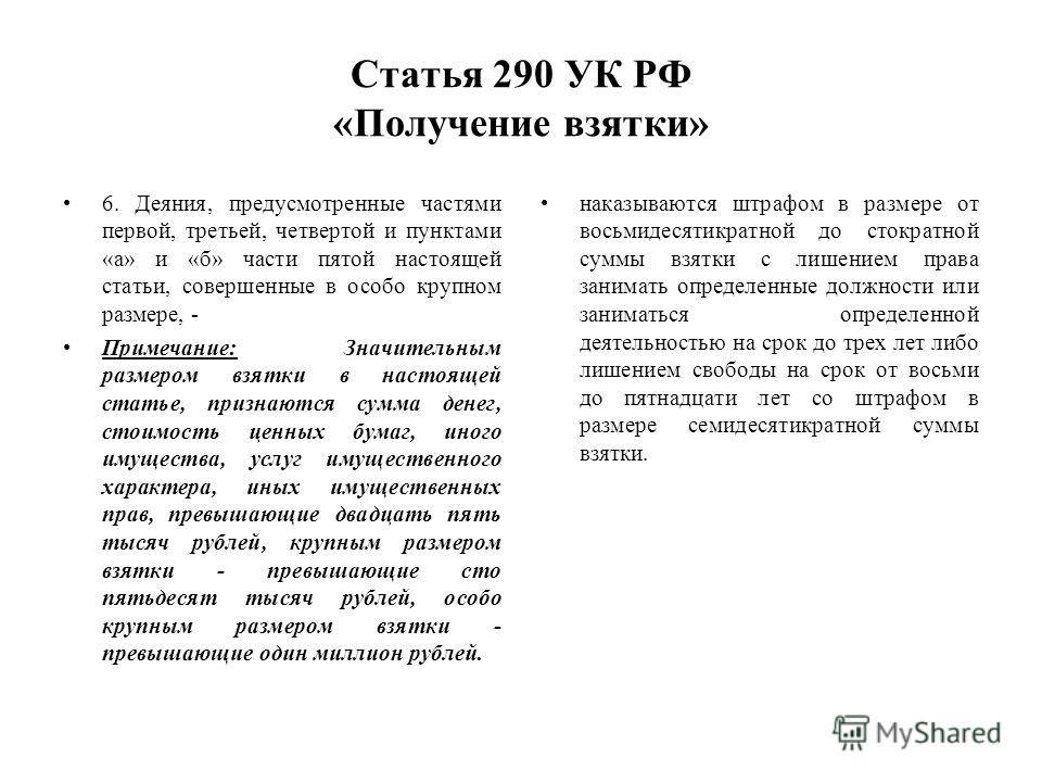 Статья 290 УК РФ «Получение взятки» 6. Деяния, предусмотренные частями первой, третьей, четвертой и пунктами «а» и «б» части пятой настоящей статьи, совершенные в особо крупном размере, - Примечание: Значительным размером взятки в настоящей статье, п