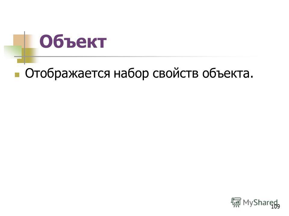 Объект Отображается набор свойств объекта. 109
