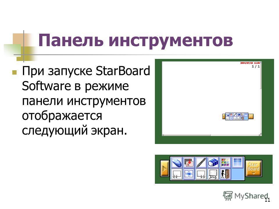 Панель инструментов При запуске StarBoard Software в режиме панели инструментов отображается следующий экран. 11