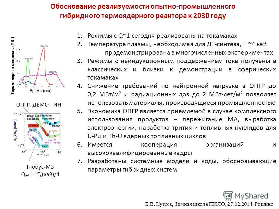 Обоснование реализуемости опытно-промышленного гибридного термоядерного реактора к 2030 году 1.Режимы с Q~1 сегодня реализованы на токамаках 2.Температура плазмы, необходимая для ДТ-синтеза, Т ~4 кэВ продемонстрирована в многочисленных экспериментах