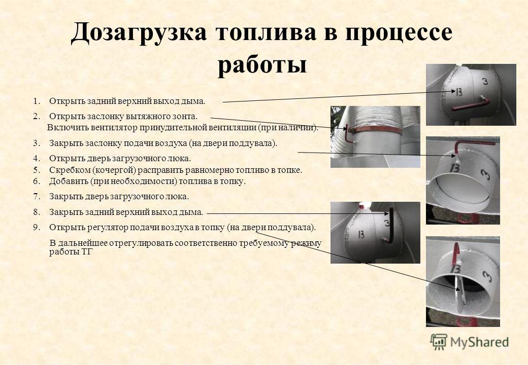 Дозагрузка топлива в процессе работы 1.Открыть задний верхний выход дыма. 2.Открыть заслонку вытяжного зонта. Включить вентилятор принудительной вентиляции (при наличии). 3.Закрыть заслонку подачи воздуха (на двери поддувала). 4.Открыть дверь загрузо