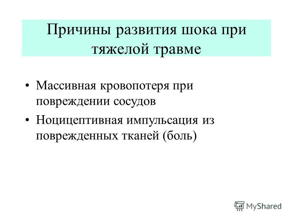 Причины развития шока при тяжелой травме Массивная кровопотеря при повреждении сосудов Ноцицептивная импульсация из поврежденных тканей (боль)