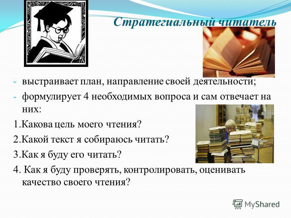Стратегиальный читатель - выстраивает план, направление своей деятельности; - формулирует 4 необходимых вопроса и сам отвечает на них: 1.Какова цель моего чтения? 2.Какой текст я собираюсь читать? 3.Как я буду его читать? 4. Как я буду проверять, кон