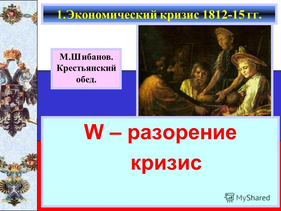 W – разорение кризис 1.Экономический кризис 1812-15 гг. М.Шибанов. Крестьянский обед.