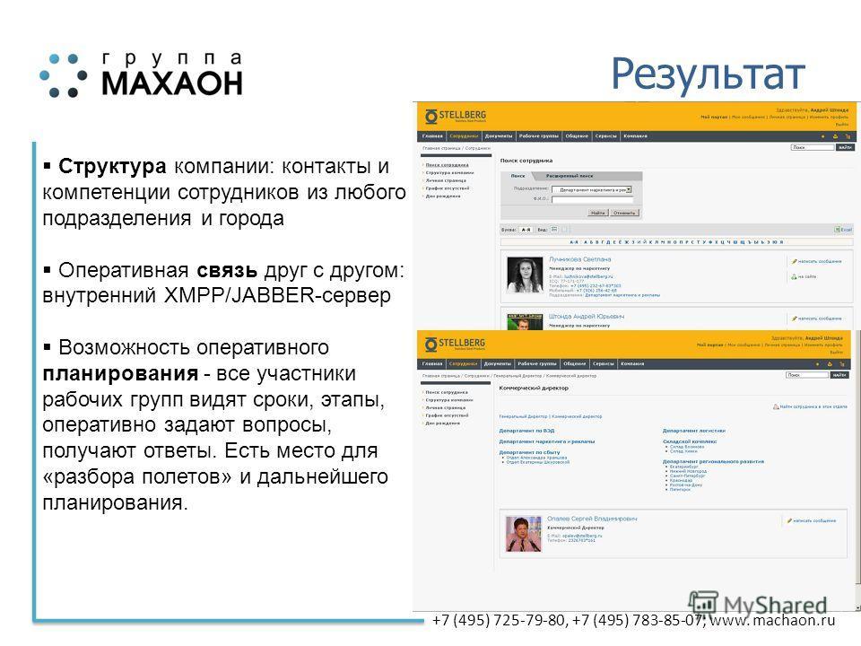 +7 (495) 725-79-80, +7 (495) 783-85-07; www. machaon.ru Результат Структура компании: контакты и компетенции сотрудников из любого подразделения и города Оперативная связь друг с другом: внутренний XMPP/JABBER-сервер Возможность оперативного планиров