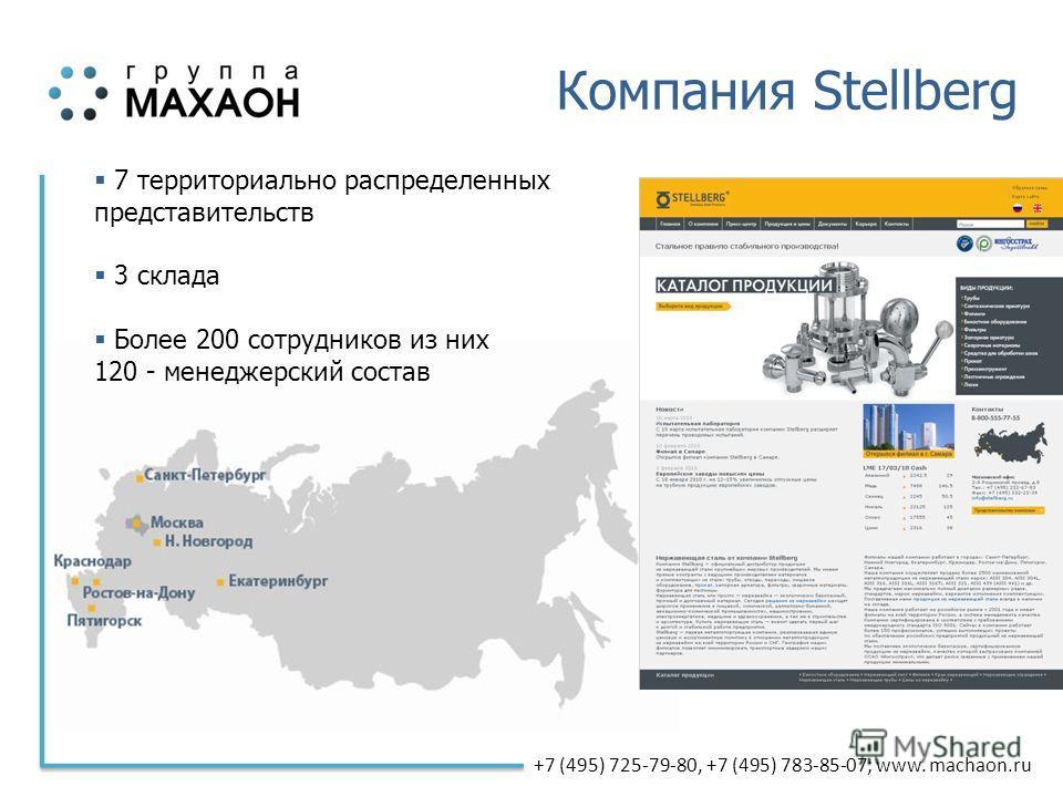 +7 (495) 725-79-80, +7 (495) 783-85-07; www. machaon.ru Компания Stellberg 7 территориально распределенных представительств 3 склада Более 200 сотрудников из них 120 - менеджерский состав