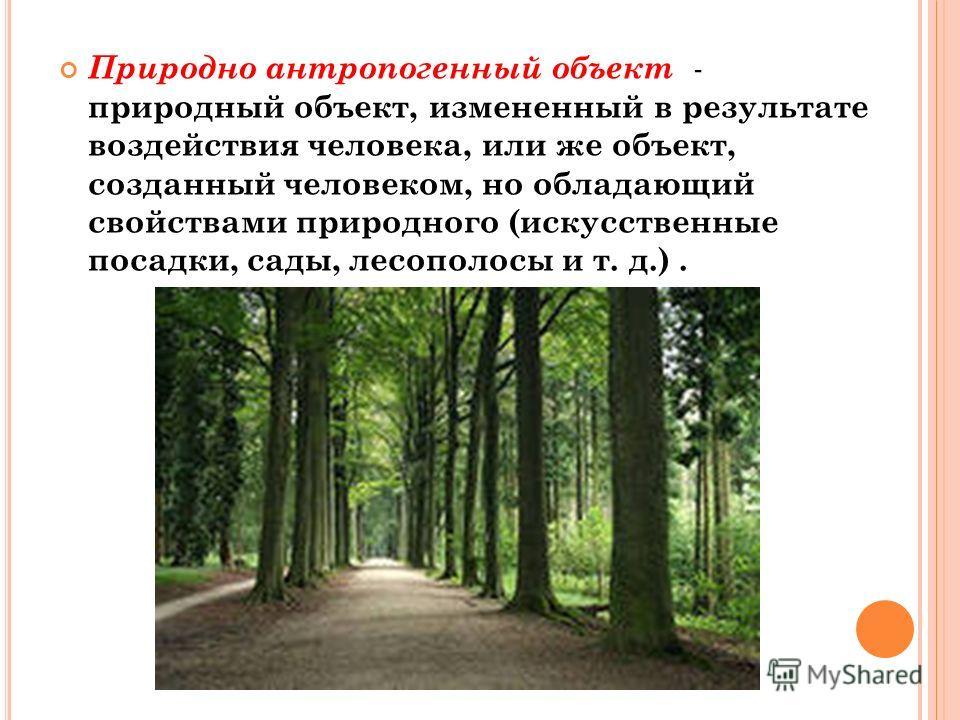 Природно антропогенный объект - природный объект, измененный в результате воздействия человека, или же объект, созданный человеком, но обладающий свойствами природного (искусственные посадки, сады, лесополосы и т. д.).