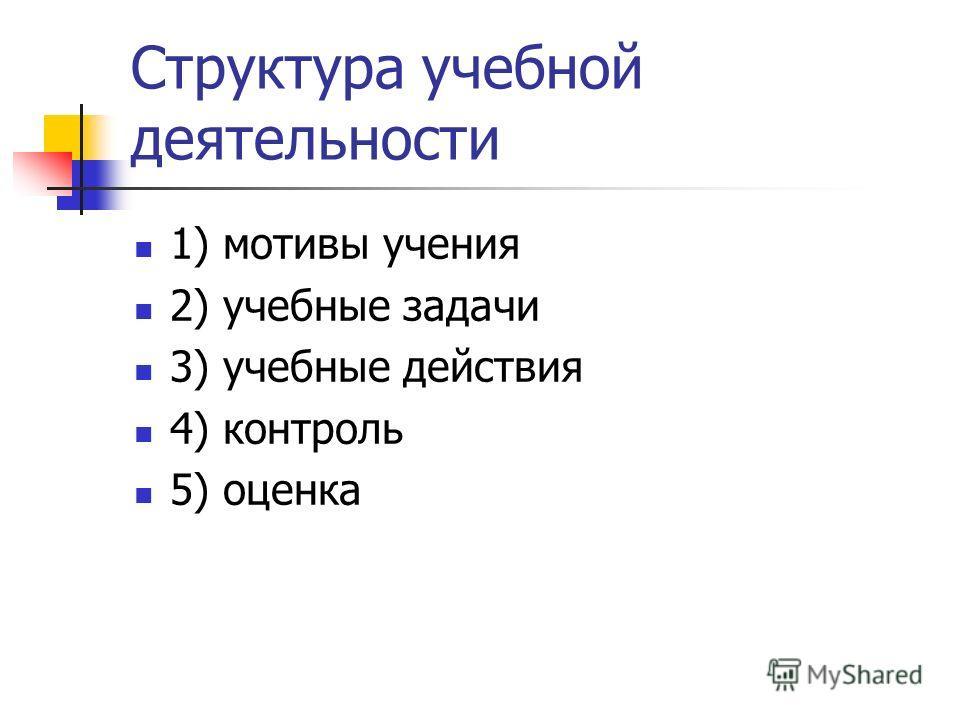 Структура учебной деятельности 1) мотивы учения 2) учебные задачи 3) учебные действия 4) контроль 5) оценка